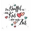 Een knuffel en een kus voor mijn zus