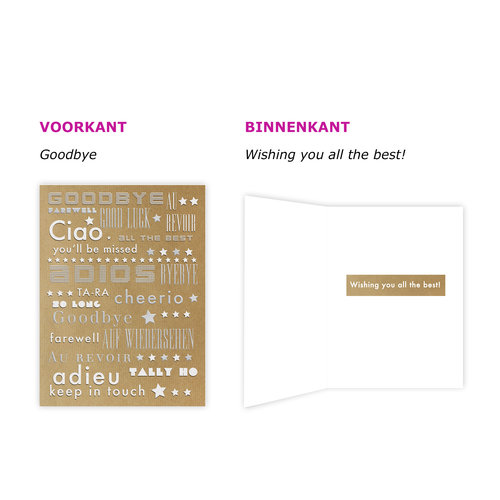 XL kaart: Goodbye