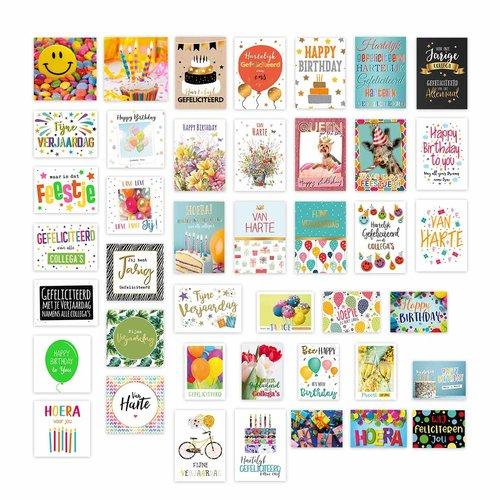 Verjaardag wenskaarten - pakket met 42 stuks