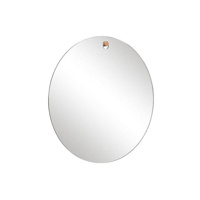Ronde spiegel met houten knop - 50 cm