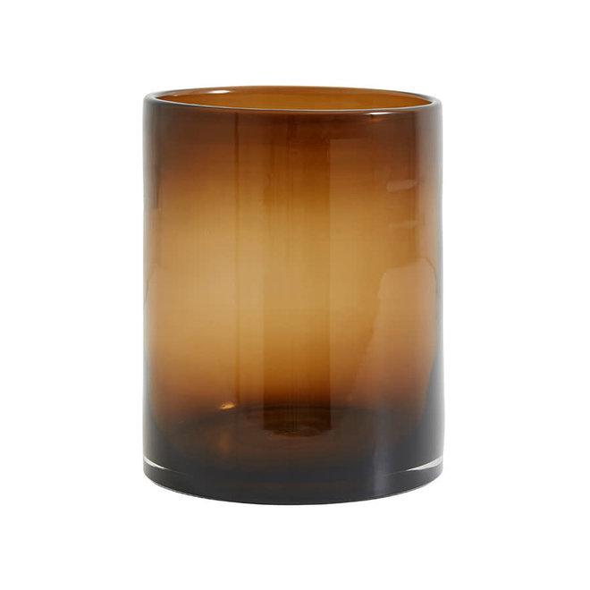 Bruine vaas/kandelaar - 23cm