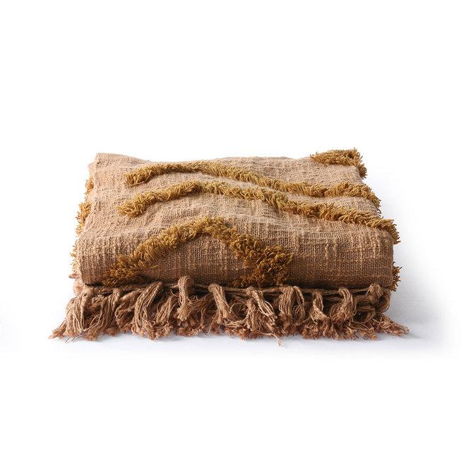 Katoenen plaid | fringe pattern (130x170)