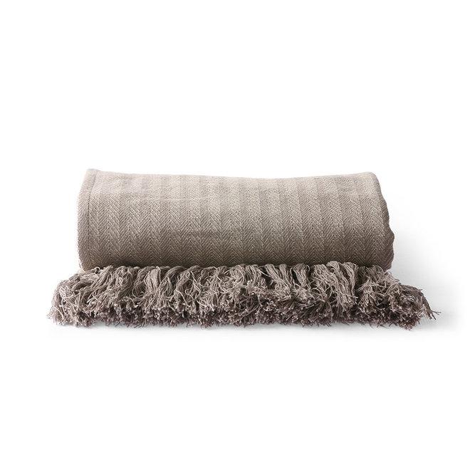 Katoenen plaid taupe (130x170cm)