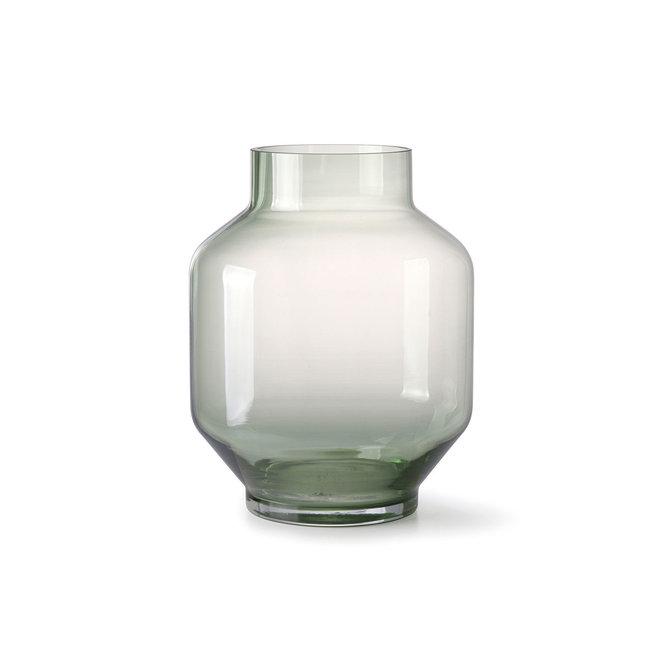 Groene glazen vaas