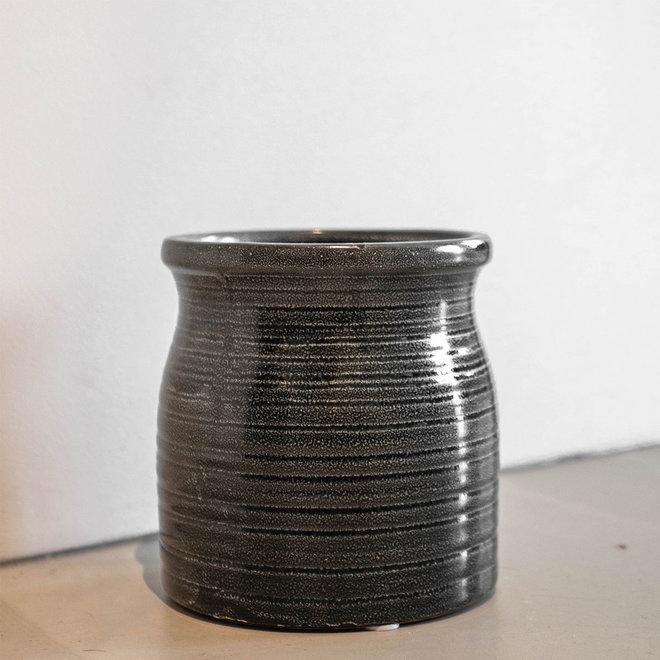 Stenen pot zwart - L