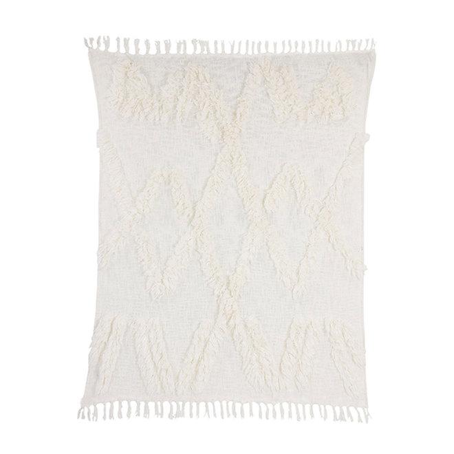 Plaid offwhite met fringes | 130x150cm