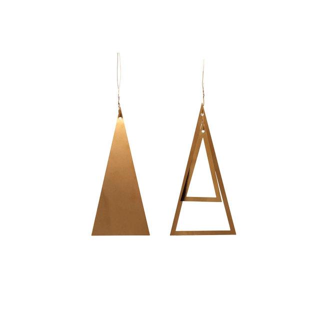 Kersthanger kerstboom - brass - set van 2