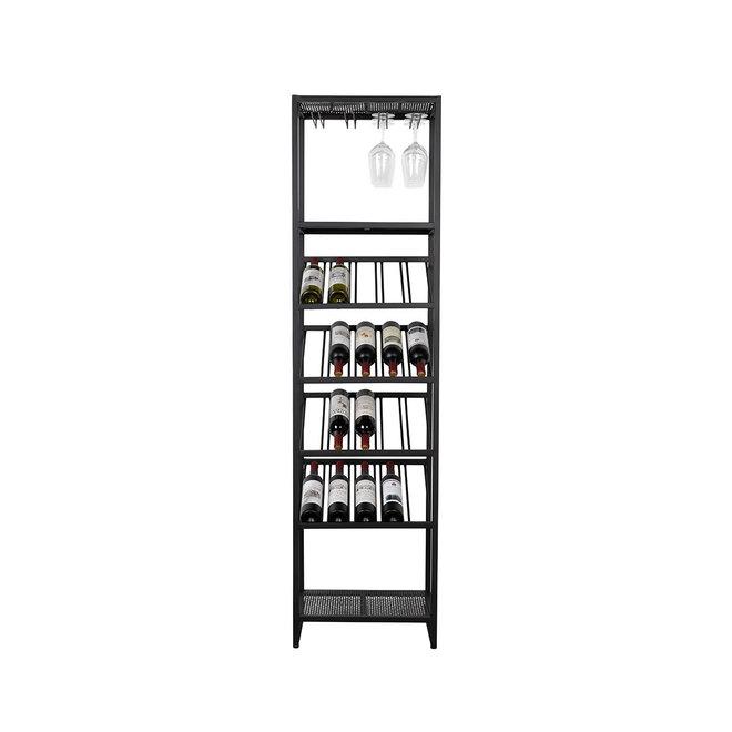 Wijnkast | zwart metaal