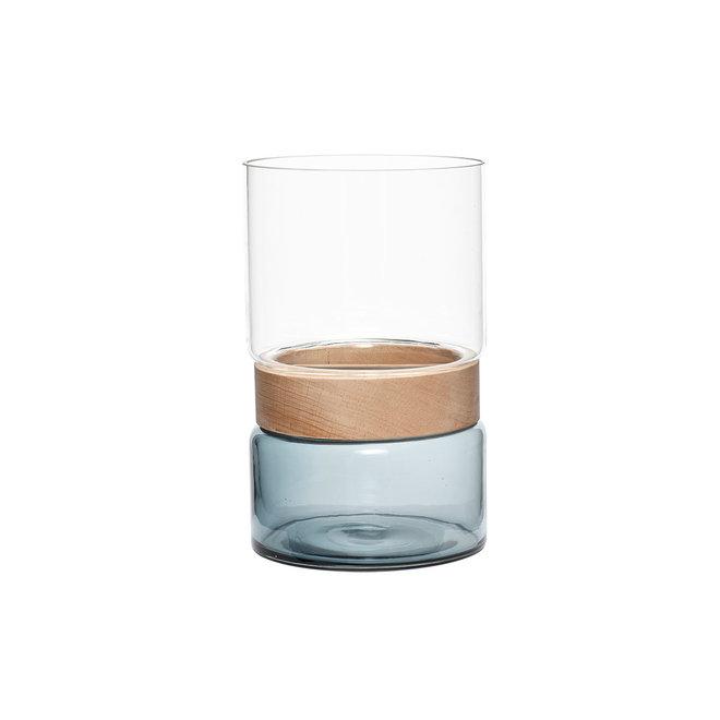 Vaas met houten ring | clear/blue