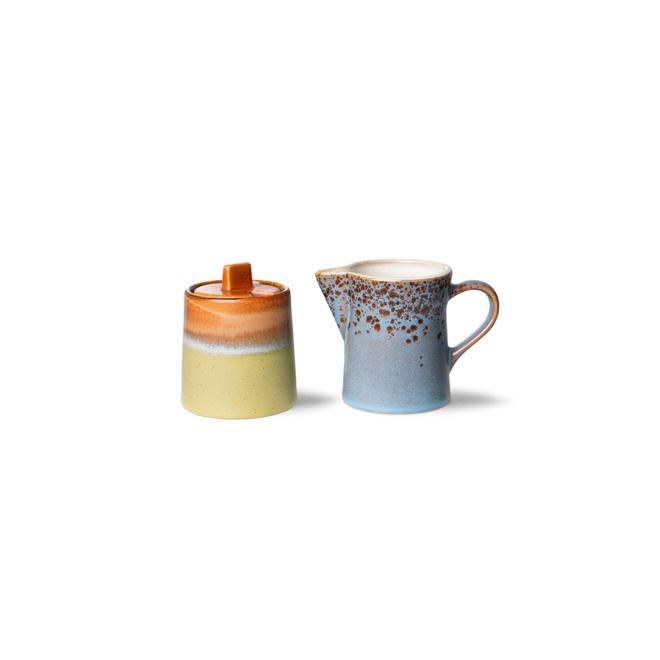 Melkkannetje + suikerpotje 'Berry/Peat'   70's ceramics
