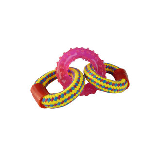 Weaving rope toy with TPR, 18cm 90-100g