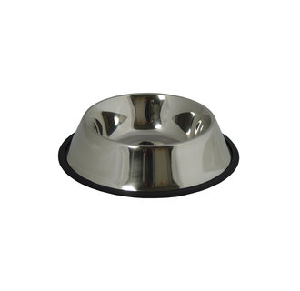 Stainless steel food tray with a rubber edge