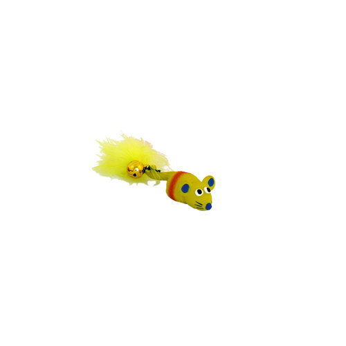 Papillon Latex+Bell+Feathers cat toy : mouse