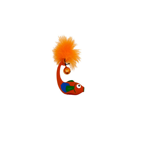 Papillon Latex+Bell+Feathers cat toy :long fish
