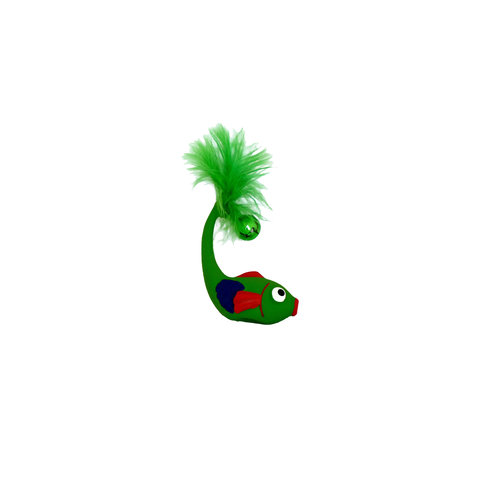 Papillon Latex + Bell + Federn Katze Spielzeug: langer Fisch