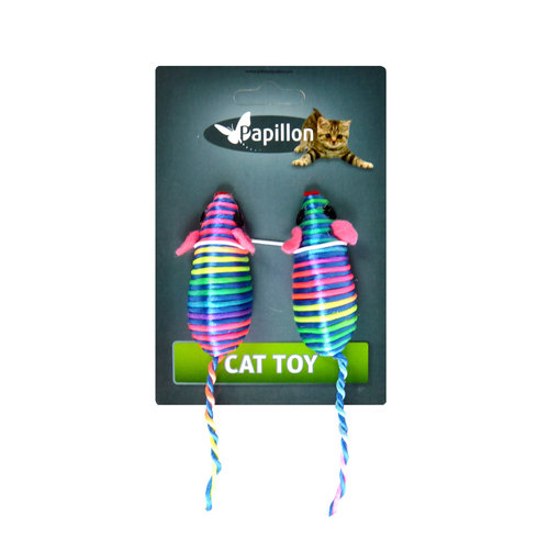 Papillon Cat toy 2 coloured mice 7 cm on card