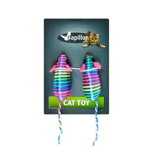 Papillon jouet Cat 2 souris de couleur de 7 cm sur la carte à