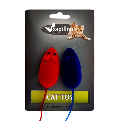 Papillon Cat toy 2 velours mice on card
