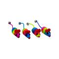 Papillon Regenbogen-Maus mit Glocke, 5cm,