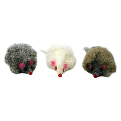 Papillon Mouse, natural long hair, white / gr, 60 pieces