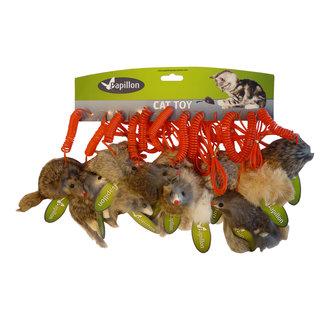 12 Muizen langhaar op veer, 9cm wit/gr