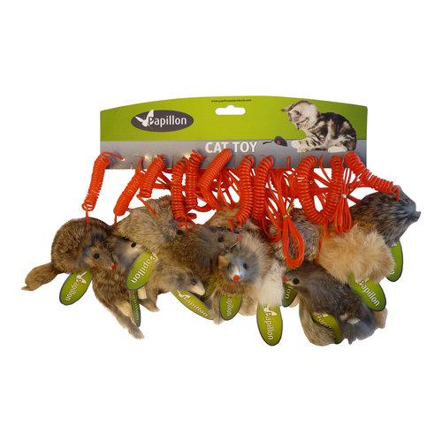 Papillon 12 Mäuse lange Haare auf Frühling, 9cm wissen / gr