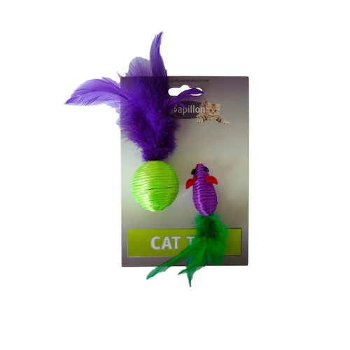 Papillon Mouse and ball + feather 5/4 cm on card