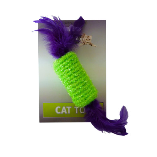 Papillon Roller with rattl & feather 10cm on card