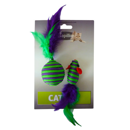 Papillon Maus und Ball + Feder