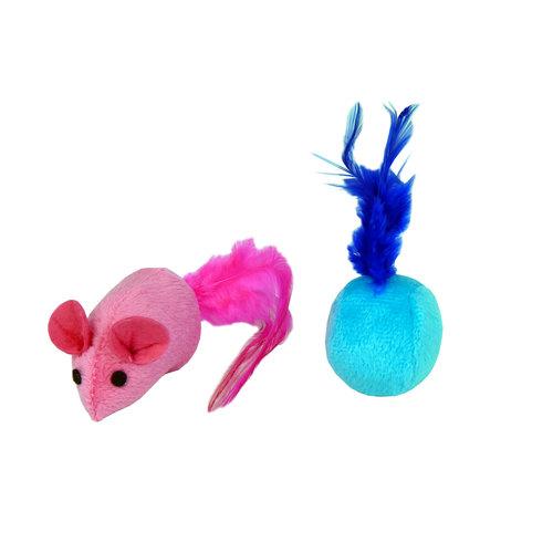Papillon Plush mouse 7cm + ball 4cm, 60/tube