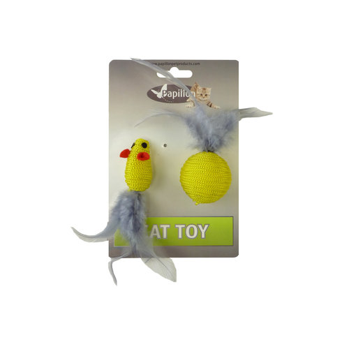 Papillon Mouse and ball + feather