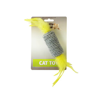 Roller with rattl & feather 10cm on card