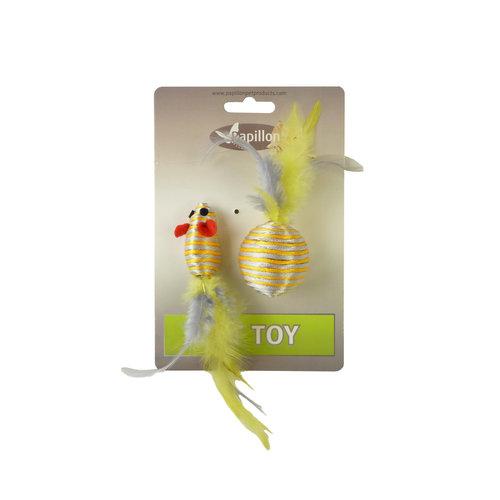 Papillon Souris et balle + plume 5/4 cm sur la carte