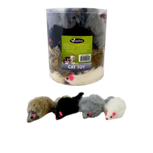 Papillon Mouse 11cm natural hair wt / br / gr / bl 36 pieces