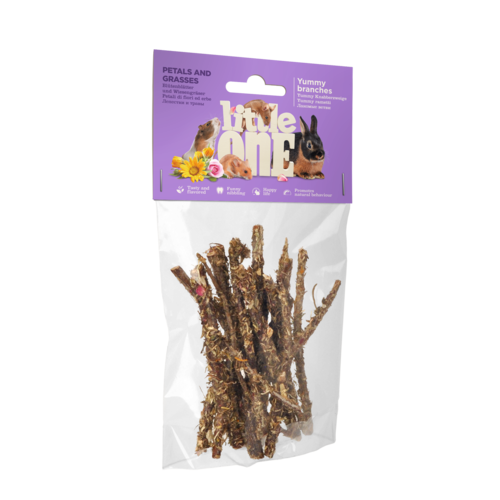Little One Little One Yummy branches with petals and grasses. Snack for all small mammals, 35 g