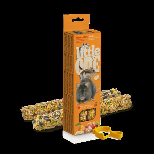 Little One Little One knabbelsticks voor hamsters, ratten, muizen en woestijnratten met fruit en noten, 2x60 g