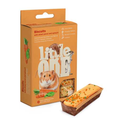 Little One Little One Biscuits for small mammals with carrot and spinach, 5x7 g