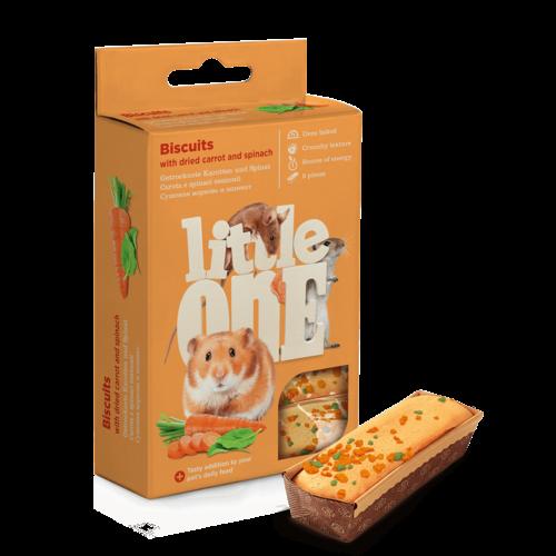 Little One Little One Koekjes met gedroogde wortel en spinazie voor kleine dieren, 5x7 g