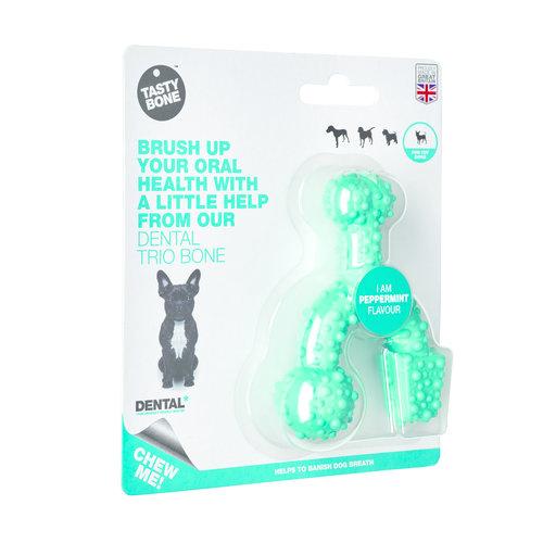 Rudolph Petsupplies Tasty Bone Trio Bone Peppermint Toy