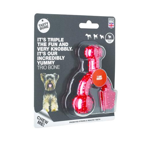 Rudolph Petsupplies Tasty Bone Trio Bone Beef Toy
