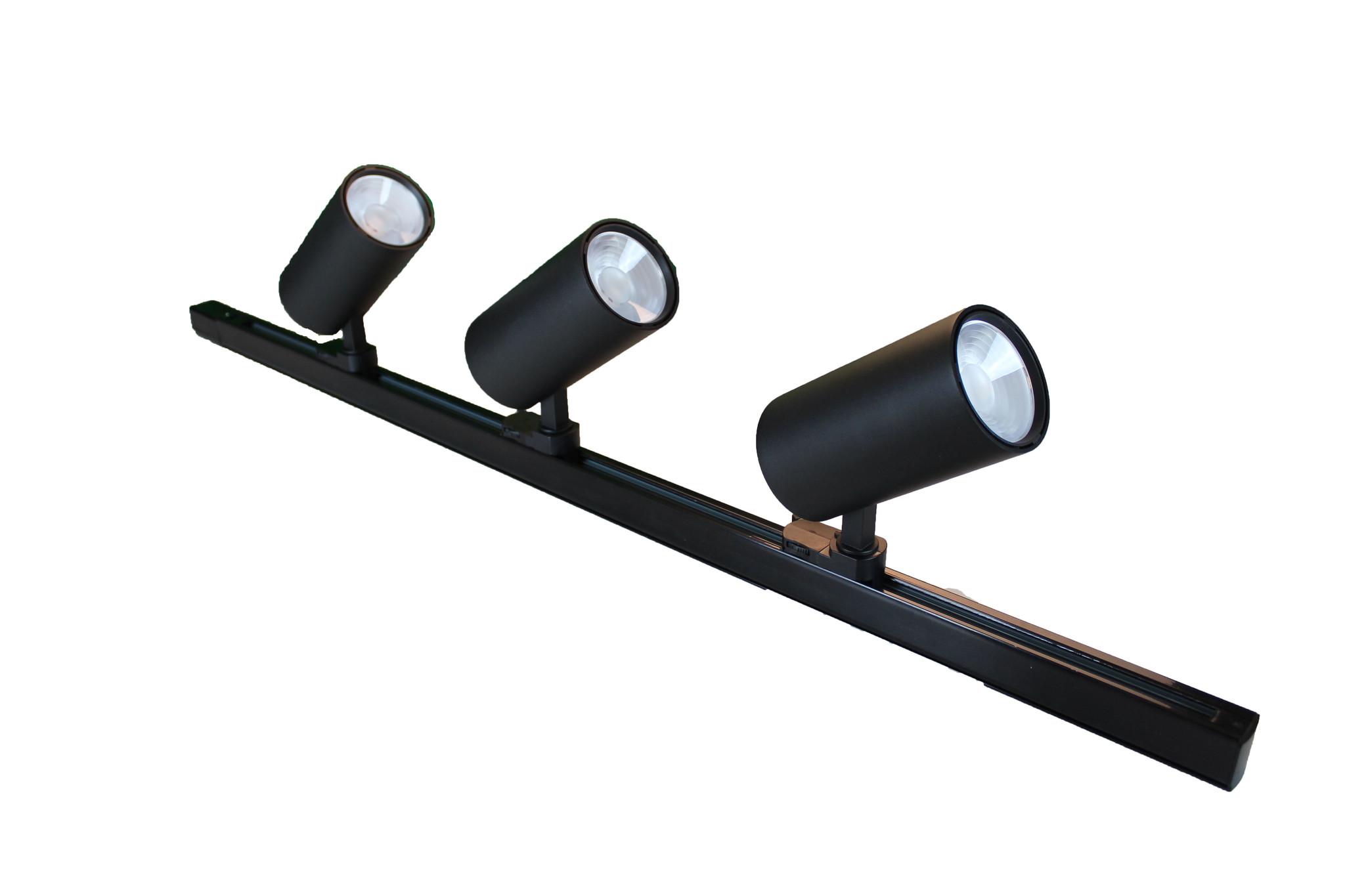 Tracklight LED F2 Serie 25W, 4000K, Zwart, Set 3 stuks