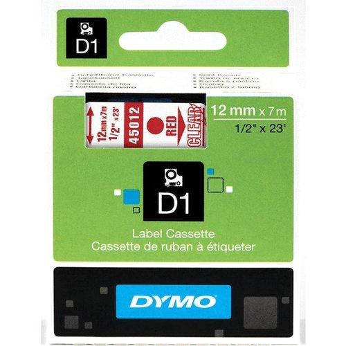 DYMO S0720520 labelprinter-tape 12mm x 7m rood op transparant
