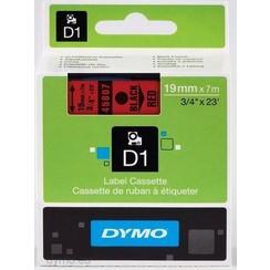 DYMO S0720870 labelprinter-tape 19mm x 7m zwart op rood