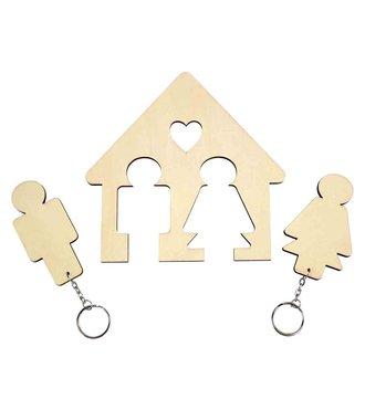 DIY Huisvormige hanger met 2 sleutelhouders 15,5 x 15 cm