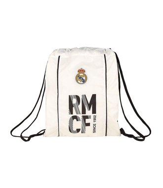 Real Madrid Saco Plano Gym sack - zwemtas wit/zwart 41x34cm