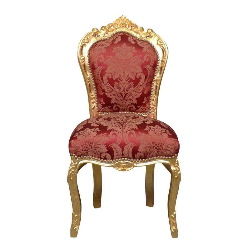 Baroque dining room chair gold red
