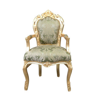 LC Baroque armchair gold green