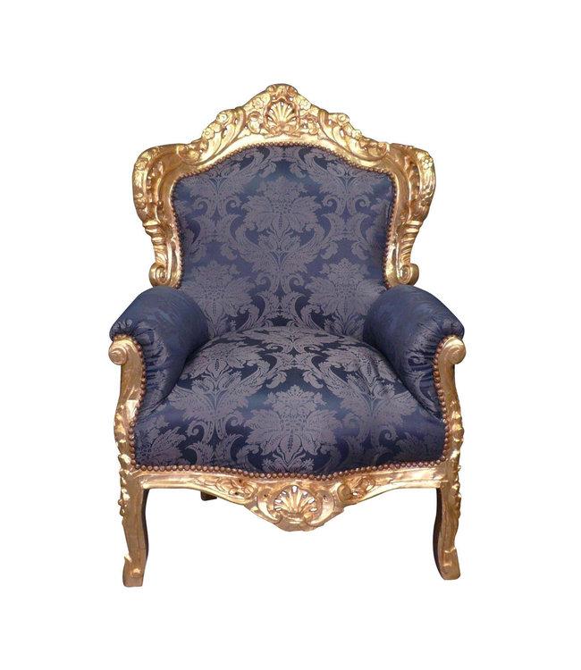 LC Barok fauteuil goud blauw