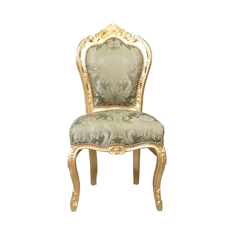 LC Baroque dining room chair gold green
