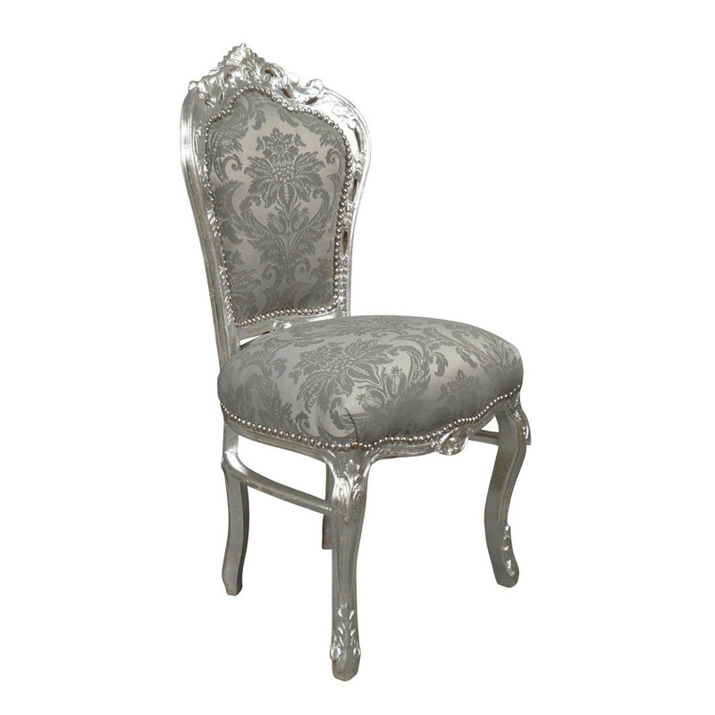 LC Baroque dining room chair gray flower